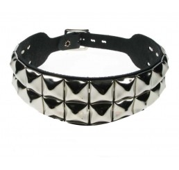 Punk'd Image - 2 Row Silver Pyramid Gothic Choker Neckband