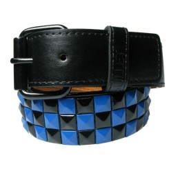Punk'd Image - Black/Blue 3 Row Studded Belt