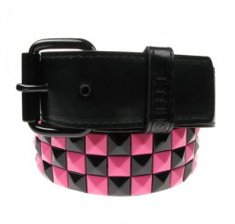 Punk'd Image - Black/Pink 3 Row Studded Belt