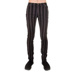 Punk'd Image - Grey & Black Striped Skinny Jean