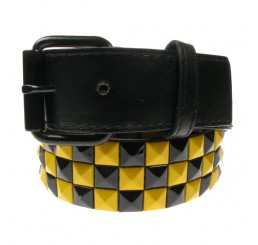 Punk'd Image - Black/Yellow 3 Row Studded Belt