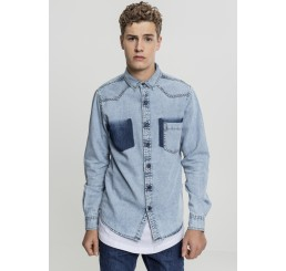 Bleached Blue Denim Grunge Indie Shirt