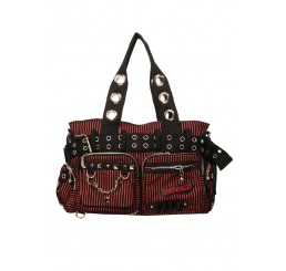 Banned Clothing - Red Striped Handcuff Bag