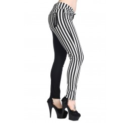 Banned Clothing - White Striped Split Leg Skinny Jeans