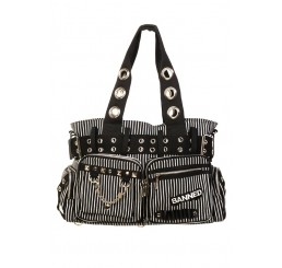 Banned Clothing - White Striped Handcuff Bag