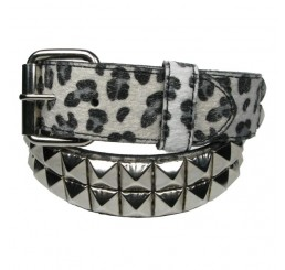 Punk'd Image - White 2 Row Silver Studded Leopard Belt