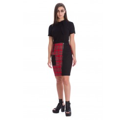 Banned Apparel Darkness Red Tartan Skirt