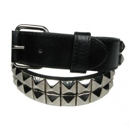 2 Row Silver Pyramid Studded Belt