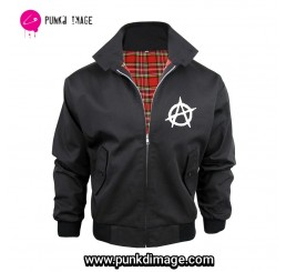 Black Punk Rock Anarchy Harrington Jacket