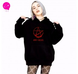 Anti Social Red Pentagram Sweatshirt Pullover Hoodie Jumper