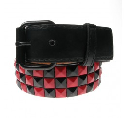Black Red 3 Row Studded Belt