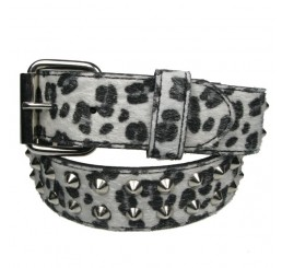 Punk'd Image - White 2 Row Silver Conical Leopard Spike Belt