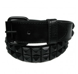 2 Row Black Pyramid Studded Belt