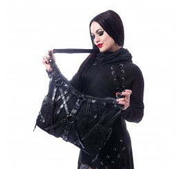 Vixxsin - Black Occult Pentagram Harness Studded Gothic Spell Bag