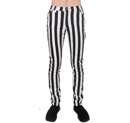 Run Fly Black White Striped Jeans
