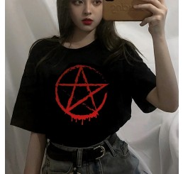 Red Pentagram Occult Symbol Blood Drip T Shirt