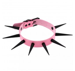 Pink Black Spike Choker Necklace