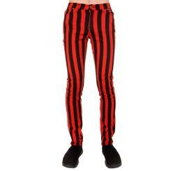 Run Fly Red & Black Striped Jeans