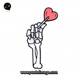 Skele Hands Love Heart Brooch Enamel Pin