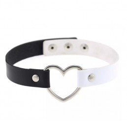 White Black Love Heart Necklace Choker