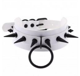Punk Spike White O-Ring Choker