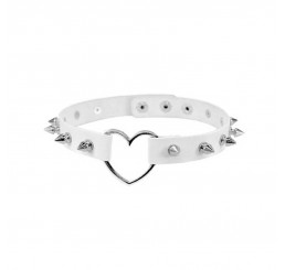 White Spike Studded Love Heart Choker Necklace